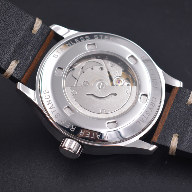 Image 5 - 42mm corgeut black sterile dial white marks date window sapphire glass sea gull automatic mens Watch C127-in Mechanical Watches from Watches