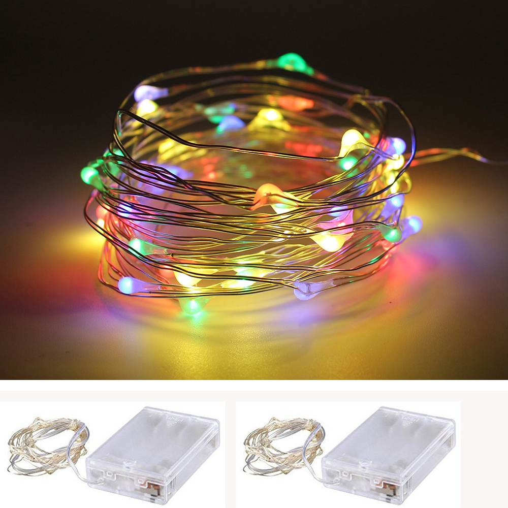 LEEDSUN 2M 3M 4M 5M LED Copper Wire String Fairy lights AA Battery Operated Christmas Holiday Wedding Party Decoration light