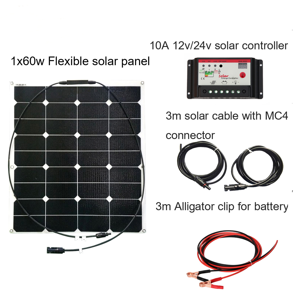 XINPUGUANG 60 w 20 v ETFE surface panneau solaire DIY RV Bateau Kits Système Solaire flexible 12 v 10A solaire contrôleur 3 m MC4 câble clip