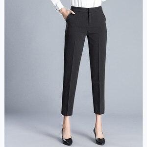 Image 2 - JUJULAND امرأة بنطلون طول الكاحل مستقيم السراويل رقيقة النسيج حجم كبير مكتب سيدة نمط ارتداء عالية الجودة بنطلون 9800