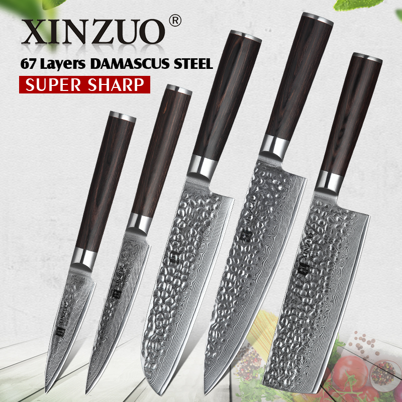 XINZUO 5 PCS Kitchen Knife Sets 67 layers High Carbon Damascus Stainless Steel Knife Cleaver Chef Utility with Pakka Wood HandleXINZUO 5 PCS Kitchen Knife Sets 67 layers High Carbon Damascus Stainless Steel Knife Cleaver Chef Utility with Pakka Wood Handle