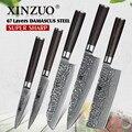 XINZUO 5 piezas juegos de cuchillos de cocina 67 capas de alto carbono Damasco cuchillo de acero inoxidable cuchilla Chef utilidad con madera de Pakka manejar