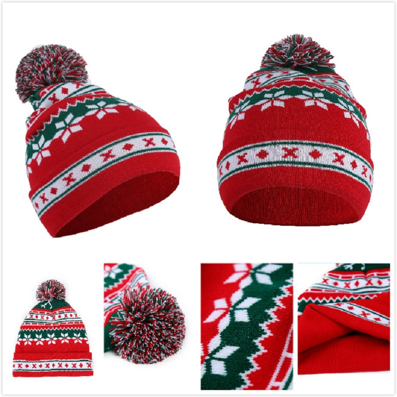 Christmas Hat Party Cap Christmas Gift Winter Skullies Beanies Warm Crochet Knit Hat Women Men Winter New Year Product