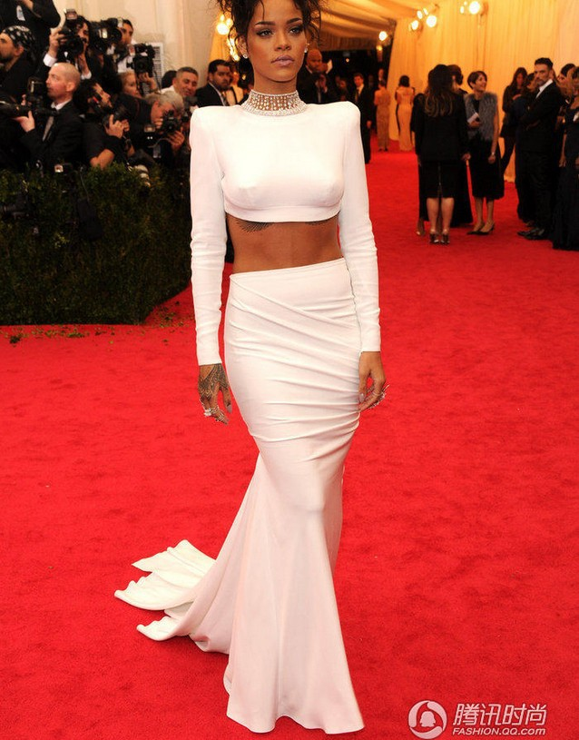 Inspired By Rihanna Pearls Neck Backless Chapel Train Long Sleeve ...