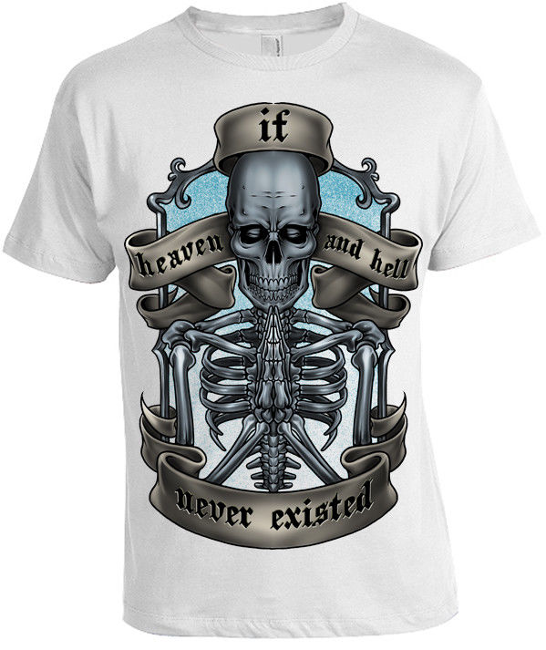 Heaven et Hell T-Shirt pour Hommes Femmes Squelette Tete de mort motard