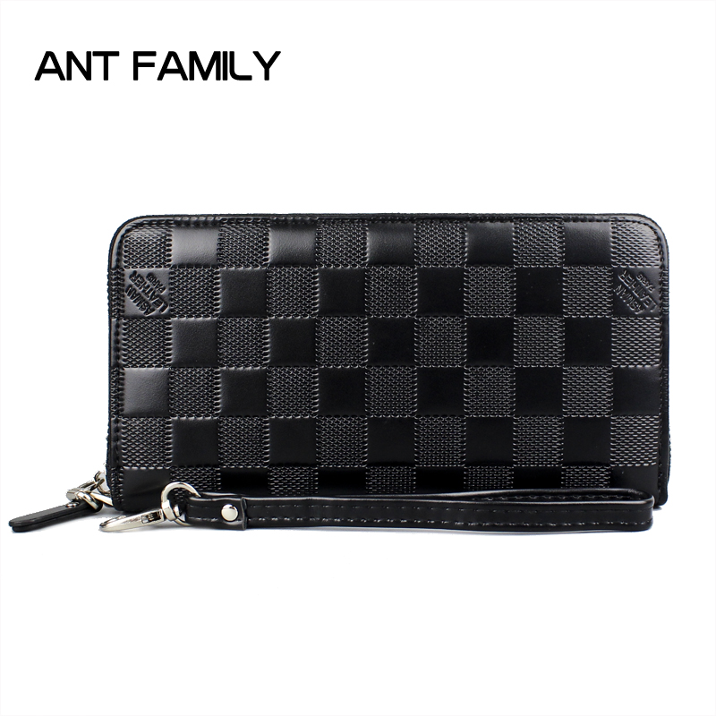 Long Zipper Wallet Men Designer Brand Leather Wallet Men Plaid Coin Purse Male Clutch Cell Phone Wallets Card Holder Black Blue designer men wallets famous brand men long wallet clutch male money purses wrist strap wallet big capacity phone bag card holder