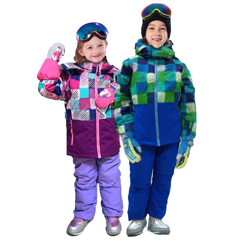 Pants 2 Pcs Set LSERVER Girls Boys Warm Snowsuit Hooded Ski Jacket
