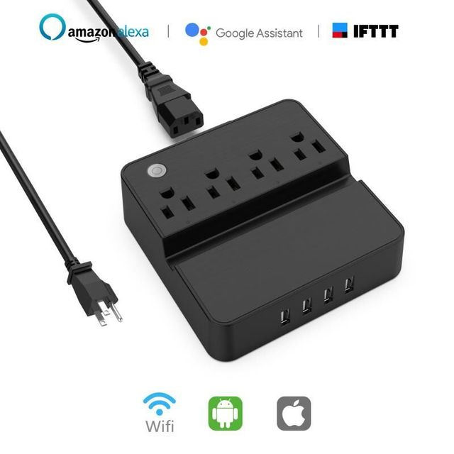 Hyleton WIFI power strip smart plug outlets USB phone charger 4 AC outlets APP/ voice control Alexa/google & phone/tablet stand