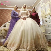 Элегантные свадебные платья в мусульманском стиле с длинным рукавом и высокой горловиной, с аппликацией, бальное платье, ислам, для женщин, для невесты, модное свадебное платье на заказ, SS177