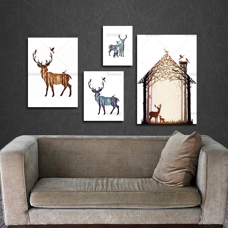 소나무 숲 캔버스와 함께 사슴 가족의 실루엣 아트 - 가정 장식