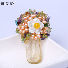 JIUDUO Water Drops Pendant Fashion Brooch Sweater Lily Flower Buttons As Gift