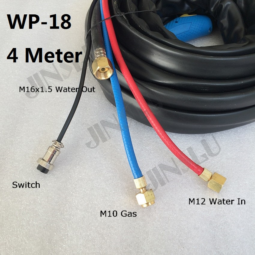 Water Cooled Tig Torch Complete Package WP-18 WP 18 4M 13 feet  M16 x 1.5mm Water and Electric Together 1pcs Free Consumables 2015 hot sale sale linternas mig mag gas burner wp 26f 200amp air cooled tig welding torch complete 26feet 8meter soldering iron