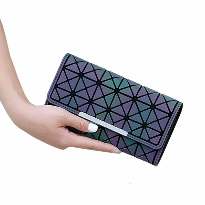 פופולרי מותג עיצוב נשים ארוך ארנקים Noctilucent ארנק גיאומטריה זוהר מצמד ארנקים נקבה כסף תיק כרטיס מחזיק Carteira