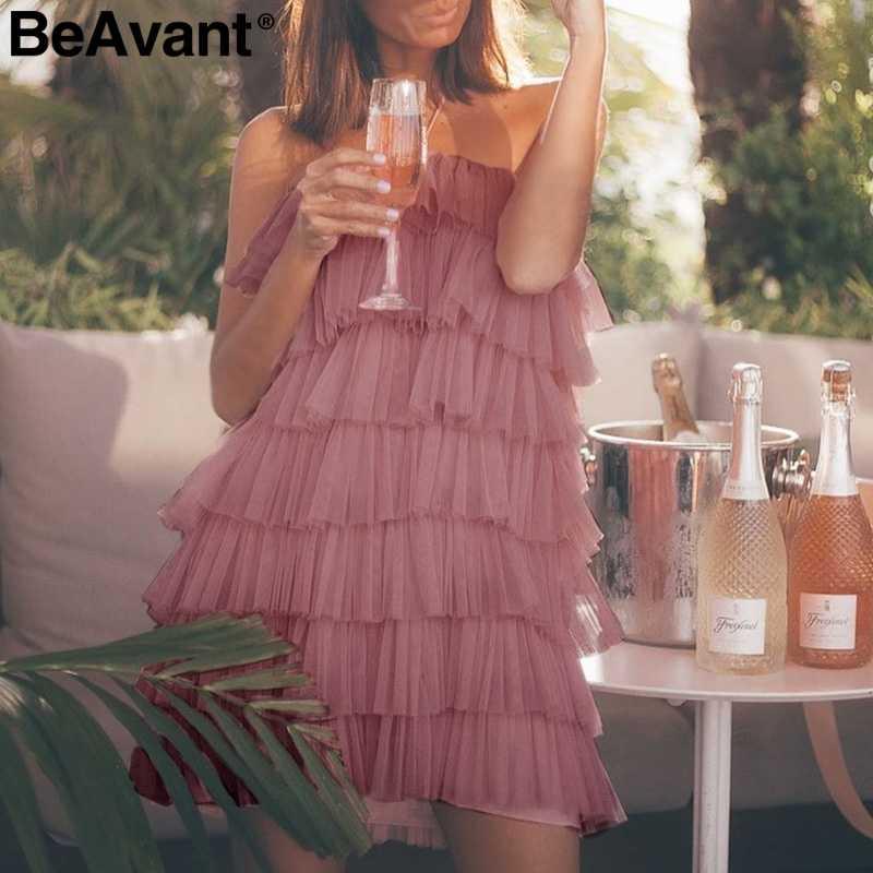 BeAvant сексуальное Сетчатое платье женское Холтер без Рукавов многослойное платье для торта женские летние вечерние короткие платья 2019