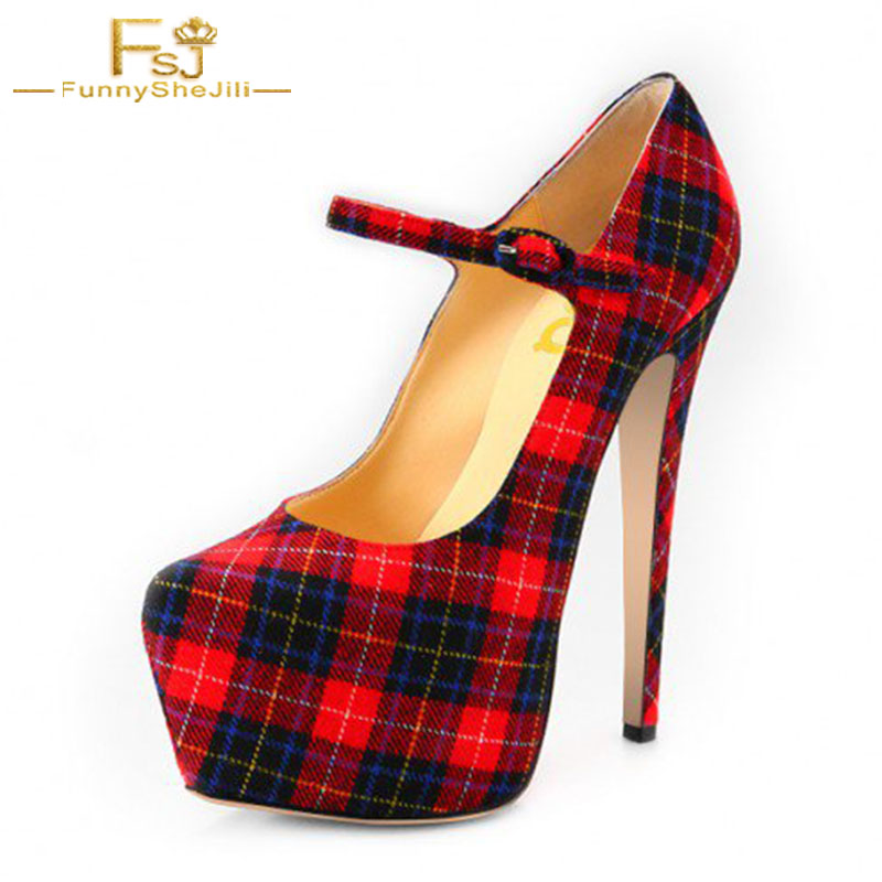 Plaid Mary Jane Pump...