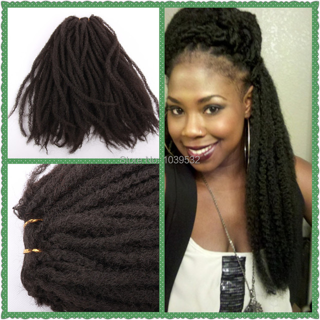 Synthetic Hair Afro Weft Marley Braiding Black Color Use 100 Kanekalon Fiber Or