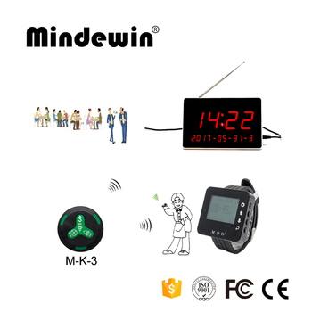 Mindewin Wireless Restaurant Waiter Calling System 10PCS Call Buttons M-K-3 + 1PCS Watch Pager M-W-1 + 1PCS LED Display