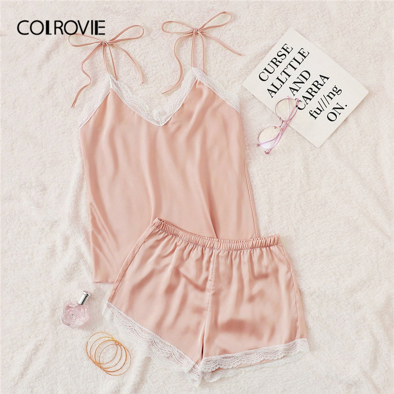 COLROVIE Pink Lace Trim Knot Satin Cami Top And Shorts Sexy   Pajama     Set   Women 2019 Summer Sleeveless   Pajamas   Female Sleepwear