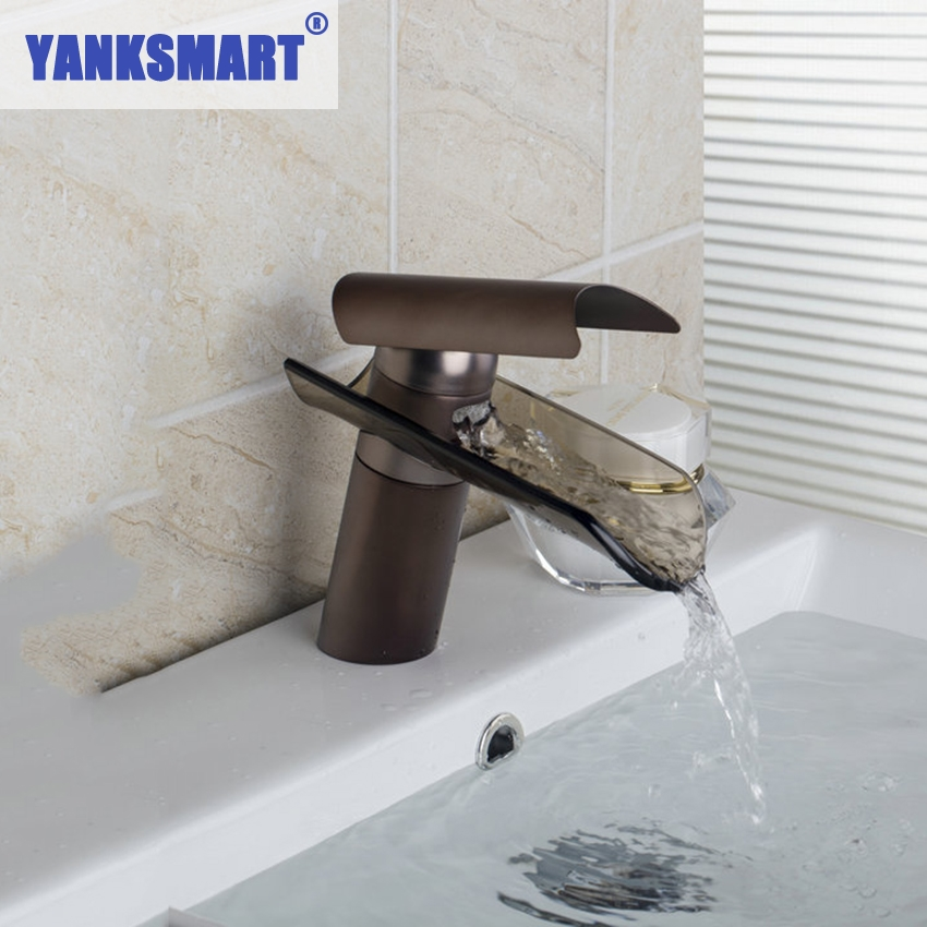 YANKSMART L04 Bathroom Sink Vessel Faucet Oil Rubbed Bronze Waterfall One Hole Single Handle Deck Mount Basin Mixer Tap Faucet automatic touchless sensor waterfall bathroom sink vessel faucet oil rubbed bronze