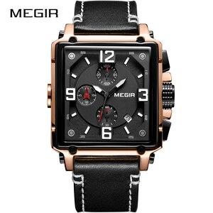 Image 5 - Top Brand Luxury MEGIR Creative Men Watch Chronograph Quartz Watches Clock Men Leather Sport Army Military Wrist Watch Saat 2020