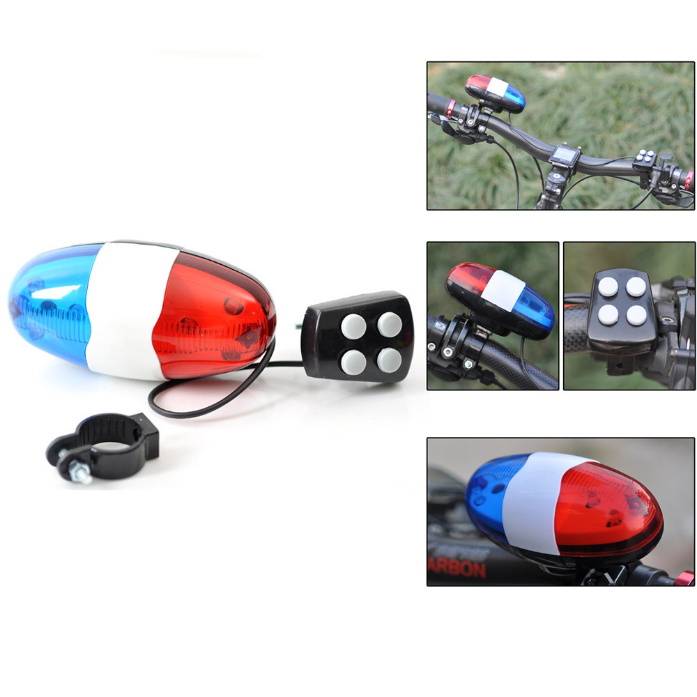 6bike bicycle police led light 4 loud siren sound trumpet cycling horn bell LE