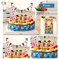 1set Birthday Cake Decoration Accessories Little Pirate Wrapper and Topper Flags for Kids Birthday Baby Shower Party Supplies