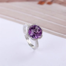 gemstone fine jewelry factory wholesale 10mm oval shape 925 sterling silver natural purple amethyst ring for women цена в Москве и Питере