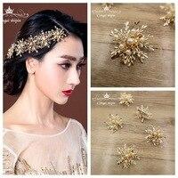 5 adet/grup Kore bakır snow flake Gelin saç kavrama Düğün headdress takı