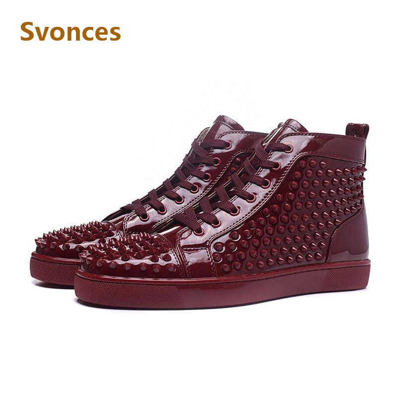 d034afc92b93 Zapatillas Hombre Luxury Designer Unisex Fashion Mens Shoes Brand Boots Red  High Top Spike Rivets Bottom Ankle Casual Shoes Man-in Men s Casual Shoes  from ...