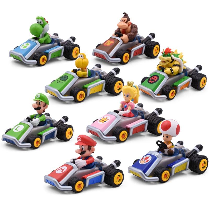8 set/lot Anime Super Mario Bros Figures Car Hot Toys Toad Luigi Yoshi Dinosaurs Donkey Kong PVC Action Dolls Collectible Model