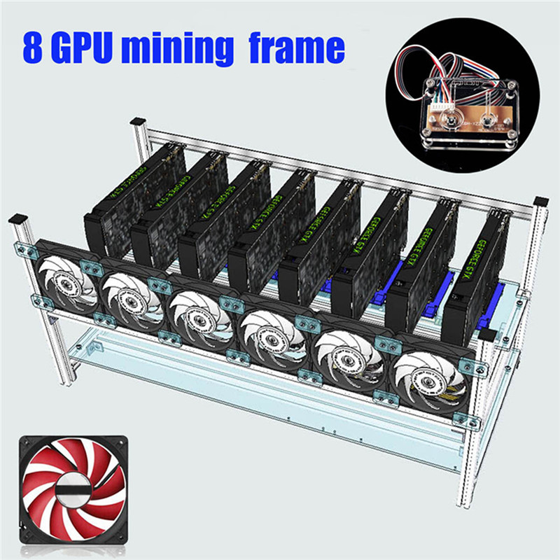 New Stackable Computer Frame Case with 6 Cooling Fan Switch For 8 Graphics Card GPU font