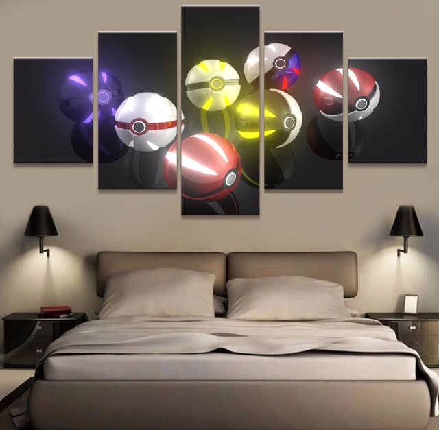 5 piece canvas art pokemon anime paintings on canvas wall art for