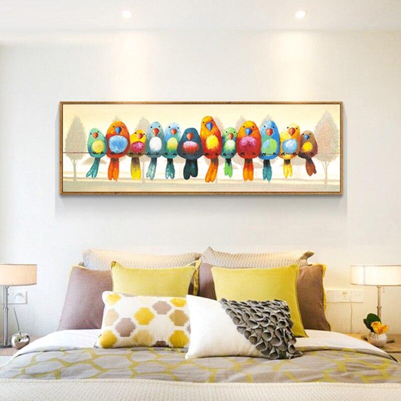Needlework,DIY Cross Stitch,full Embroidery Kit, Colorful Bird Family Print Pattern Cross-Stitch Handwork Painting Children Gift