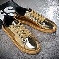 Новый 2017 мужчины лакированной кожи золотой цвет плоские ботинки классные ребята хип-хоп обувь обувь для ходьбы размер 39-44