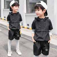 Boys clothes spring and autumn 2019 new stitching baby suit long sleeved shirt + pants student 3 12 years children's clothing