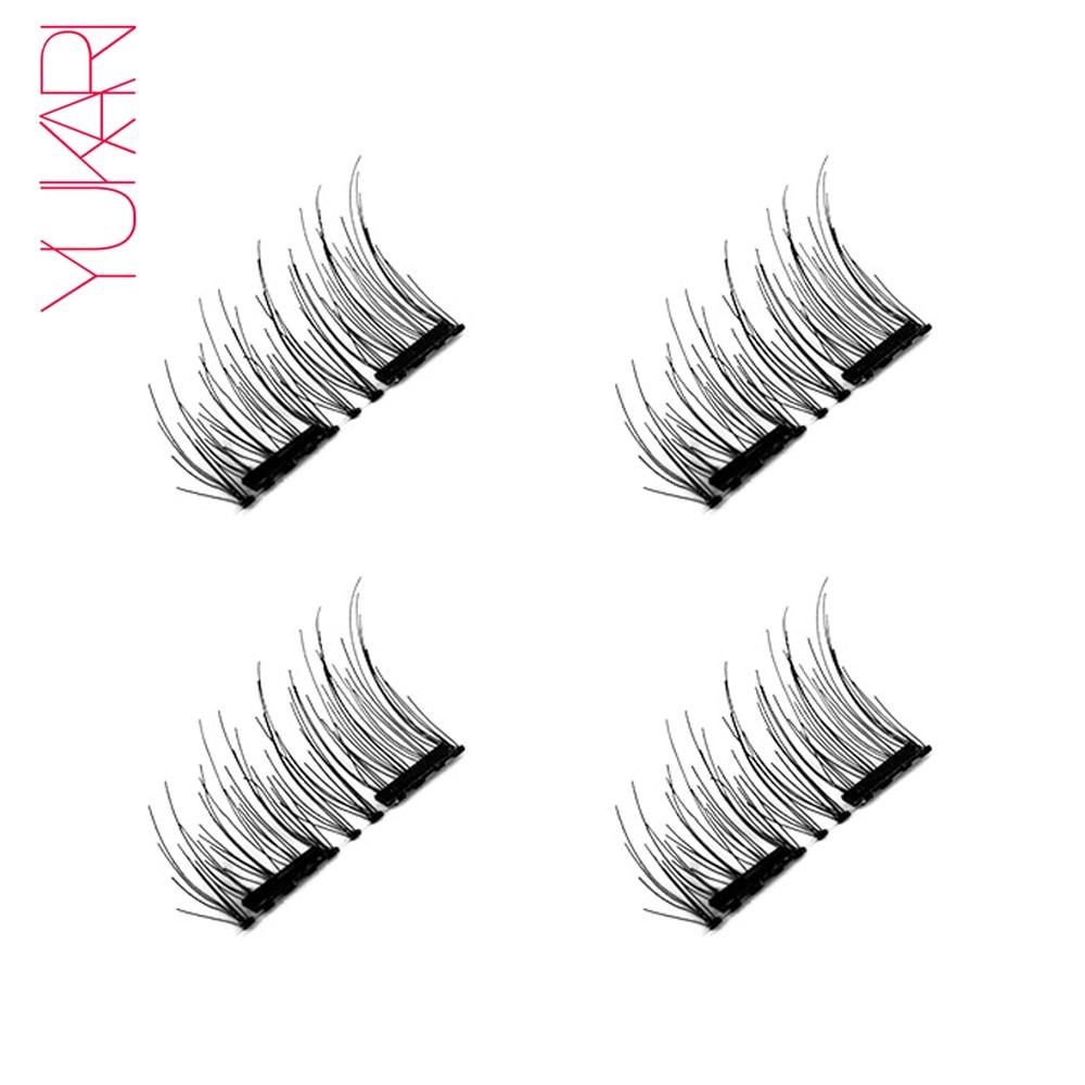 YUKARI 4PCS 3D double Magnetic false Eyelashes makeup Magnet eyelash cilios magneticos Extension Natural Mink EyeLashes Thicker