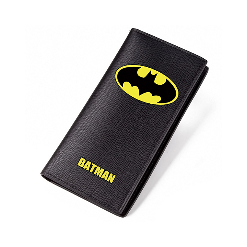 Batman Wallet Black PU Short Purse Students Carteira Bilfold Long Purse with Coin Zip Pocket Superman The Flash Wallet american super hero batman pu short zero wallet coin purse with interior zipper pocket
