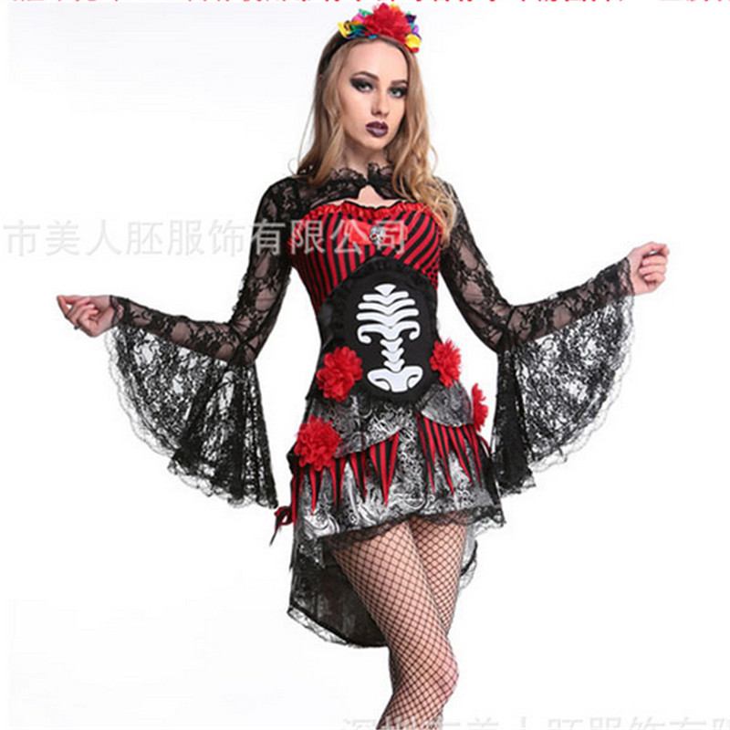 high quality sexy black red ghost bride costumes halloween for women 2016 new adult skull horror - High Quality Womens Halloween Costumes