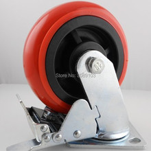 1 pcs PVC /PU red Korean 4 inch heavy duty pvc caster wheel industrial Hand casters with brake