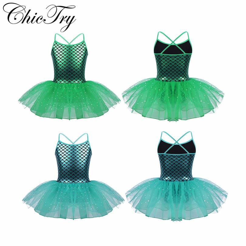 Children Girls Kids Sequins Dress Glitter Mermaid Costume Scales Pattern Ballet Dance Gymnastics Leotard Tutu Performance Dress