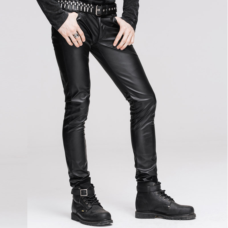070ebb549d43d Steampunk Man Close Pants Men's Winter Stretch Tight Leather Pants Black  Long Trousers Male Gothic Clothing
