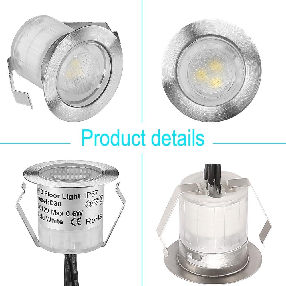 Small Size Stainless Steel Underground Light 30mm Outdoor Garden Lighting IP67 0.6W LED Deck Light For Yard/Deck/Staris/Driveway