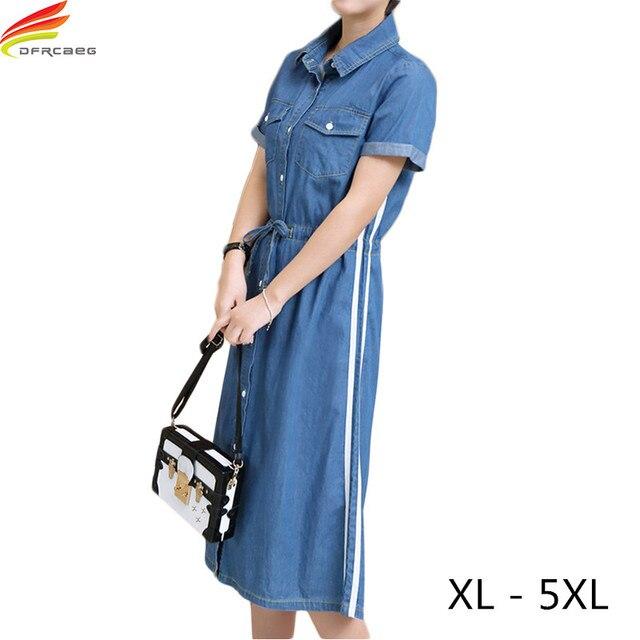 Plus Size 5XL Jean Dresses For Women 2018 Summer New Arrivals Denim ...