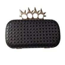 Frauen schwarz klassische strass kupplung abendtaschen handtasche brieftasche
