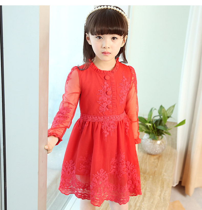 2017 Spring Girl Beautiful Lace Princess Dress Kids Cotton Red Girls Dress For Party Wedding Embroidery 2-14Y Children Clothes 2016 new girls clothes 100% cotton cute pink gray lace dress for the girl princess dress art bowknot sleeveless dress