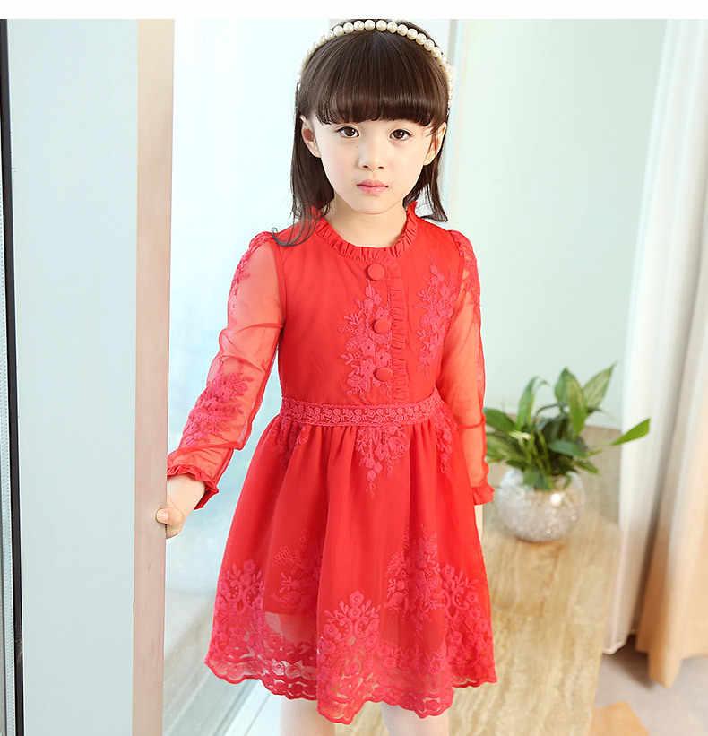 e670c520595 2018 на весну для девочек красивое кружевное платье принцессы дети хлопок  красное платье для девочек красный