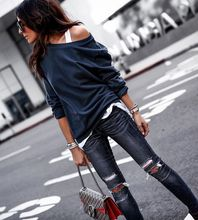 Sudadera recortada mujer 2019 primavera cuello Slouchy pulóvers moda Casual manga completa Sexy Hoodies marca negro rojo azul Tops