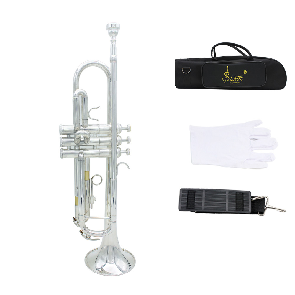 High Quality Brass Trumpet Bb B Flat with Exquisite Mouthpiece Gloves Padded Box and a piece