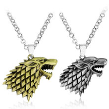 Game of Thrones Necklace 3D Wolf Head Stark Family Crest Pendant Alloy Jewelry Necklace for Men Christmas Collar Souvenir(China)