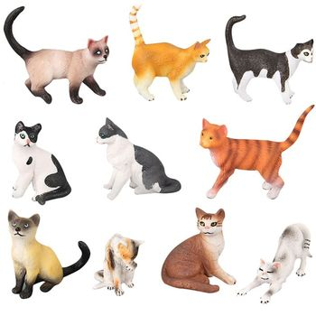 10 Styles Realistic Cat Action Figures Toy Set Doll Pet Cat Model For Kids Boys Girls Cake Topper Cake  Accessories N26_A дамски часовници розово злато